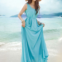 Bohemian Sleeveless with Lace Waist Tie Chiffon Maxi Dress