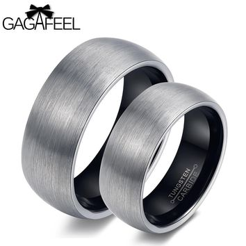 GAGAFEEL Love Rings Finger Ring Men Tungsten Steel Arc Smooth Couples Lucky Vintage Jewelry For