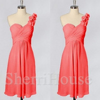 Watermelon Red One-shoulder Flower Strapless Short Bridesmaid Celebrity dress ,Chiffon Evening Party Prom Dress Homecoming Dress