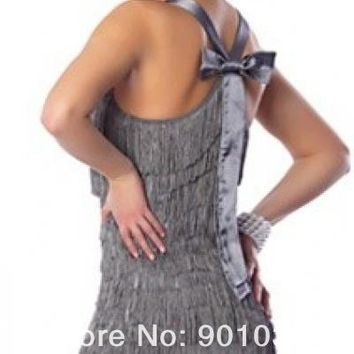 Ladies 1920s Gatsby Roaring 20s Grey Flapper Chicago Gangster Charleston Womens