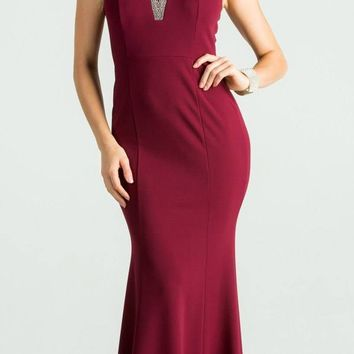 Burgundy Fit and Flare Long Formal Dress Embellished Neckline