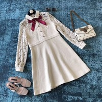 GUCCI Hollow Lace Splicing Bow Dress