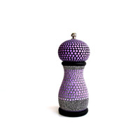 Pepper Mill: Hand painted pepper mill small pepper mill purple black and white Pepper grinder salt mill