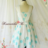 A Party Princess - Retro Sundress Off White With Blue Polka Dot Dress Prom Party Dress Wedding Bridesmaid Dress Tea Dresses Custom Made