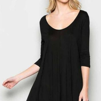"""I Feel Pretty"" Swing Dress in Black"