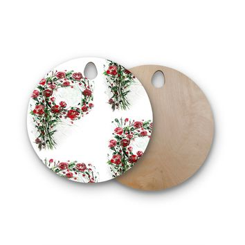 """Maria Bazarova """"FLoral Monogram P"""" Red Green Floral Nature Painting Digital Round Wooden Cutting Board"""