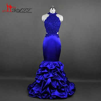 New Fashion 2017 Mermaid Prom Dresses Long Sexy Halter Royal Blue Satin Lace Sequins Beaded Backless Evening Party Dress LY619