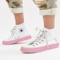 Converse X Miley Cyrus Chuck Taylor All Star Hi Trainers In White And Silver Glitter at asos.com