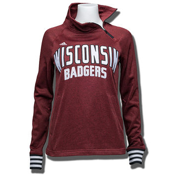 Adidas Women's Wisconsin Zip Performance Sweatshirt (Red) * | University Book Store