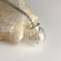 Real Dandelion Wishes Necklace, glass globe pendant wish flower seeds nature natural good luck gift gifts for her