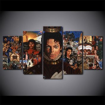 Michael Jackson Collage 5 Panel Wall Art Canvas Print Pieces Thriller