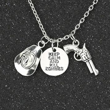Keep Calm And Kill Zombies Hat Pistol Pendant Necklace