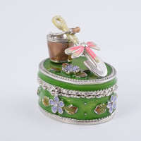Bucket & a Shovel with Pink Dragonfly Faberge Style Trinket Box Handmade by Keren Kopal