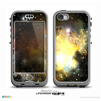 The Glowing Gold & Black Nebula Skin for the iPhone 5c nüüd LifeProof Case