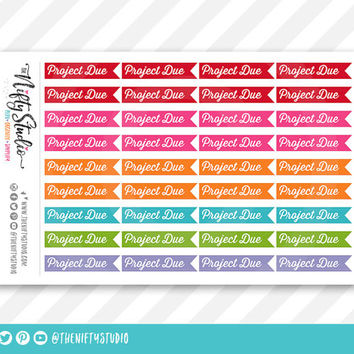 Project Due College Planner Stickers | The Nifty Studio | Planner Stickers Erin Condren compatible, Planner Stickers School