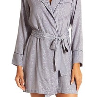 Smoky Leaf Jacquard Short Robe w/Contrast Piping (XS-XL)