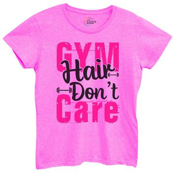 Womens Gym Hair Don'T Care Tshirt