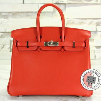 Hermes New Birkin 25 Vermillon Red Swift Tote Bag Phw MPRS R