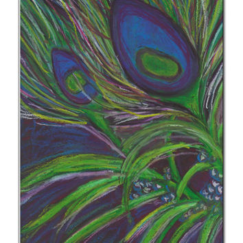 Peacock feather oil pastel drawing -  8 1/2 x 11