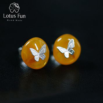 Lotus Fun Real 925 Sterling Silver Natural Amber Stone Handmade Designer Fine Jewelry Butterfly Stud Earrings for Women Brincos