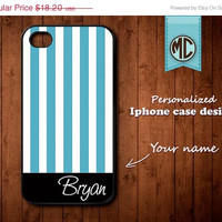 20% OFF SALE Personalized iPhone Case - Plastic or Silicone Rubber Monogram iPhone 4 4S Case Cover - K096