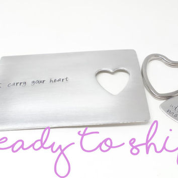Ready To Ship Hand Stamped Aluminum Wallet Card Insert and Heart Keychain Set, Couples Gifts, Valentines Day Gifts by Miss Ashley Jewelry