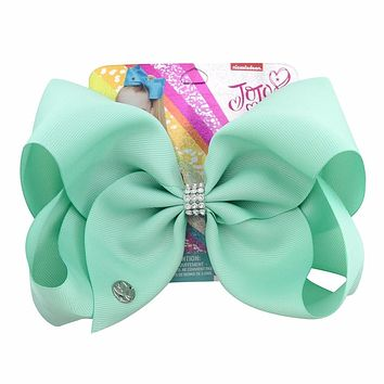 "1 piece 8"" Large JoJo Clip Grosgrain Ribbon Bow With Alligator Clips For Kids Hairpins With Rhineston Hair Accessory"