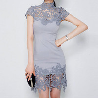 Women's Mini Dress High Neck Short Sleeve Party Sexy Hollow Lace Stitching Dress