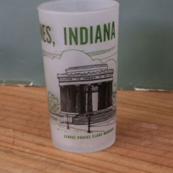 Souvenir Drinking Glass Vincennes Indiana Vintage Frosted State