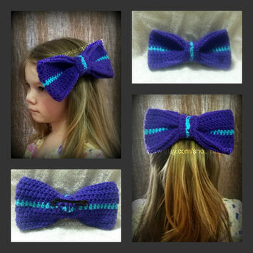 Purple and Teal Striped Oversized Bow Barrette (aqua, crochet, clip, large, hair)