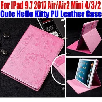 Cute Hello Kitty PU Leather  Stand Cover for iPad 4/3/2 Smart Case For IPad 9.7 2017 Air1/Air2 For iPad mini 4/3/2/1 IM415