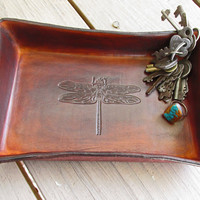 Dragonfly Leather Desk Tray. Timber Brown.
