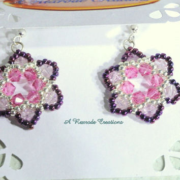 SALE - Beadweave Earrings  / Pink Flower Earrings / Seed Bead Earrings