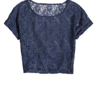Emmy Short-Sleeve Lace Crop Top