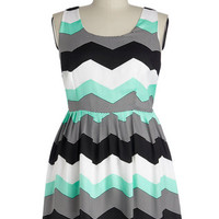 Jack by BB Dakota Tank top (2 thick straps) A-line Chillin' in Chi-Town Dress in Mint - Plus
