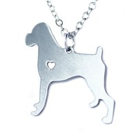 Stainless Steel Boxer Dog Necklace