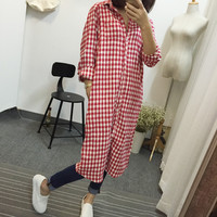 Plaid Shirt Collar Buttoned Up Long Sleeve Windbreaker Coat With Pockets
