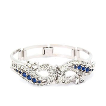 Art Deco Bracelet French Paste Sterling Silver Rhinestone Bracelet 1930s Hinged Bangle Crystal and Blue Sapphire