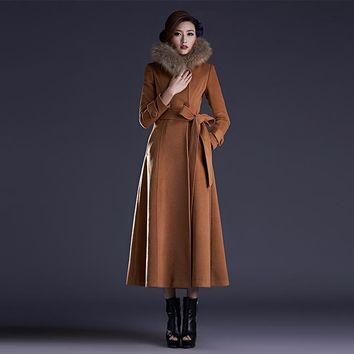 New Fashion High Quality Long Wool Coat Women's Elegant Maxi Long Jackets Woolen Trench Coat Plus Size Hooded Jacket Outwear