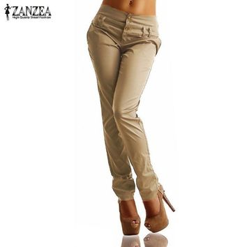 Women Long Pants 2016 Summer ZANZEA Autumn High Waist Buttons Zipper Solid Trousers Plus Size Casual Pockets Slim Pencil Pants