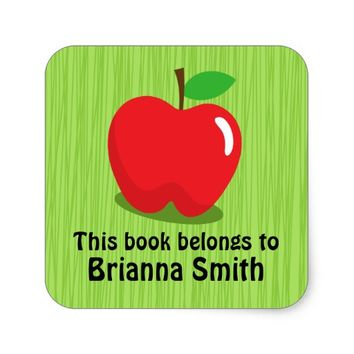 Red apple bookplate book label / tag for kids square sticker