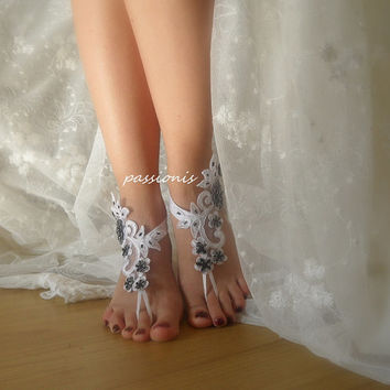 wedding,bridal shoes,white lace barefoot sandals