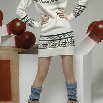 Christmas Print Sweater Dress = 1919981124