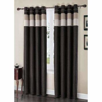 "Regal Black/Taupe/Gold Grommet Lined Window Curtain Panel 57"" x 84"""