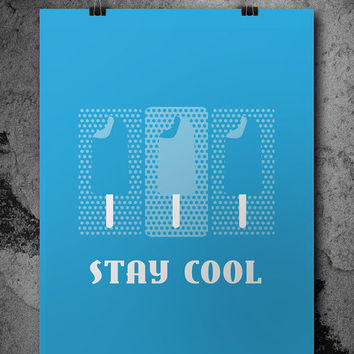 Stay Cool Wall Art, Poster, Ice Cream Wall Decor, Printable, Download, Inspirational Art