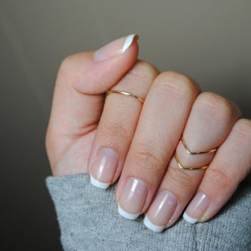 Dainty Gold Knuckle Ring: 1 Mid Ring & 2 CHEVRON rings