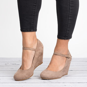 Mary Jane Wedge Pump - Taupe
