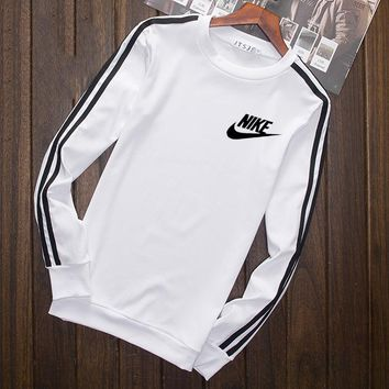 Nike Fashion Print Cotton Long Sleeve Sweater Pullover Sweatshirt White G-YSSA-Z
