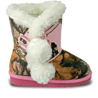 Girls' Mossy Oak Side Tie Boots - Pink Breakup Infinity