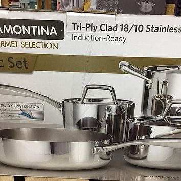 Tramontina 8-piece Stainless Steel Tri-ply Clad Cookware Set